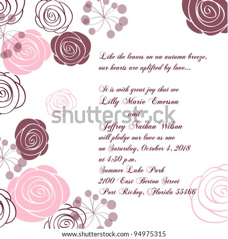 Wedding card or invitation with abstract floral background. Greeting card in grunge or retro style. Elegance Seamless pattern with flowers roses, floral illustration in vintage style Valentine.