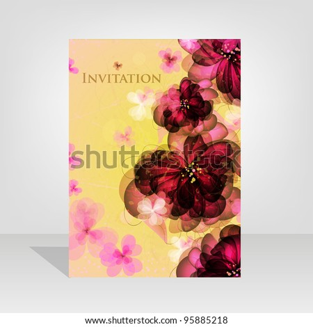 Wedding card or invitation with abstract floral background. Greeting card in grunge or retro style. Elegance winter vector Seamless pattern  floral illustration in vintage style Valentine.