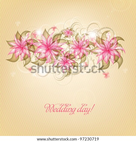 Wedding Card Or Invitation With Abstract Floral Background Ez Canvas