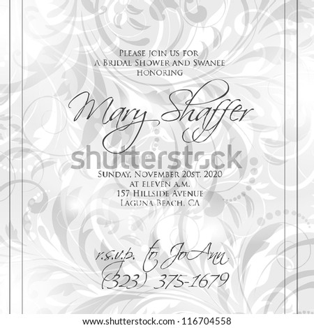 Wedding card or invitation with abstract floral background. Greeting postcard in grunge or retro vector Elegance pattern with flowers roses floral illustration vintage style Valentine anniversary - stock vector