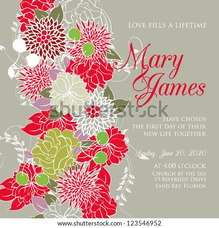 Wedding card or invitation with abstract floral background. Greeting postcard in grunge or retro vector Elegance pattern with flowers roses floral illustration vintage style