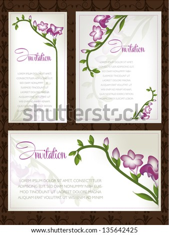 Wedding card or invitation with abstract floral background. Greeting postcard with flowers freesia