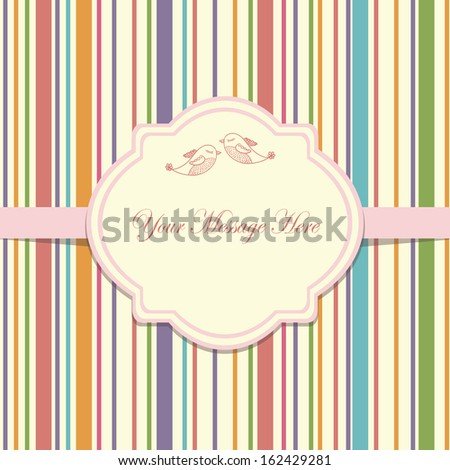 Wedding card or invitation with abstract striped colorful background