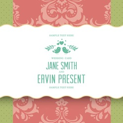 Wedding card or invitation with floral ornament background. Perfect as invitation or announcement