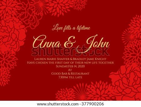 wedding card   red rose and