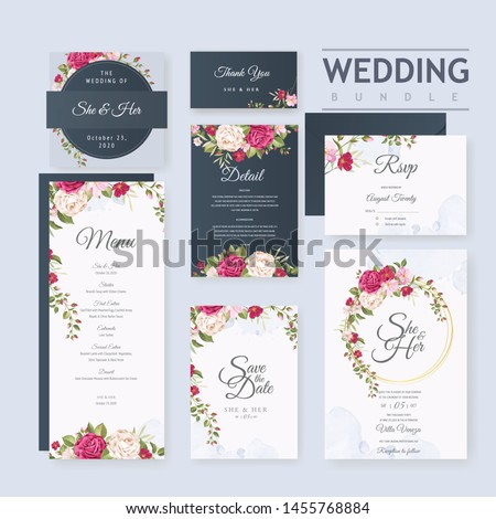 wedding card set template with beautiful floral and leaves background #1455768884