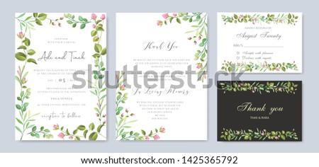 wedding card template with colorful floral and leaves wreath #1425365792