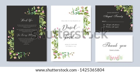 wedding card template with colorful floral and leaves wreath #1425365804