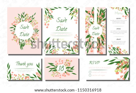 Wedding Card Templates Set with Eucalyptus. Vector Decorative Invitation with Leaves, Floral and Herbs Garland. Menu, Rsvp, Label, Invite with Nature Wreath. Hand Drawn Wedding Cards Design Isolated. #1150316918
