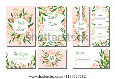 Wedding Card Templates Set with Eucalyptus. Vector Decorative Invitation with Leaves, Floral and Herbs Garland. Menu, Rsvp, Label, Invite with Nature Wreath. Hand Drawn Wedding Cards Design Isolated. #1157637382