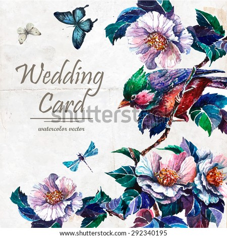 stock-vector-wedding-card-with-blooming-tree-twigs-with-pink-flowers-bird-and-butterflies-hand-drawn