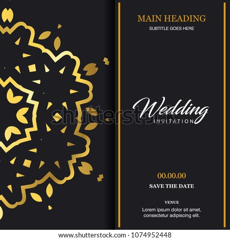 Wedding card with creative design and elegant style  #1074952448