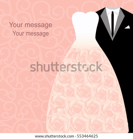 wedding card with dresses