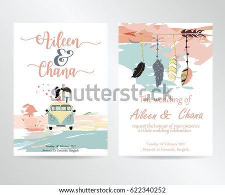 Wedding card with feather,bride and groom in boho style