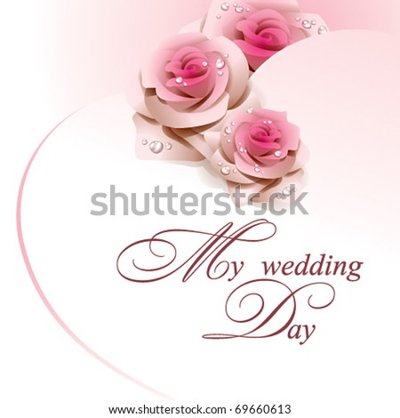 wedding card with pink roses