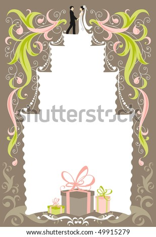 stock vector Wedding card with space for text