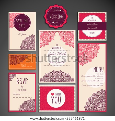 Wedding cards and invitations. Vintage decorative elements. Hand drawn background. Islam, Arabic, Indian, ottoman motifs.  - stock vector