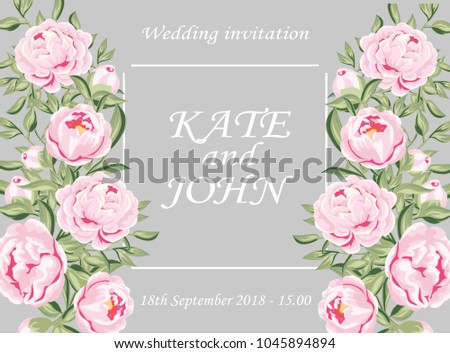 Wedding cards floral design. Invitation, menu, table number, thank you. White garden rose peony flower, pink peony, small leaves around, light colors, bouquet of greenery.vector illustration  #1045894894