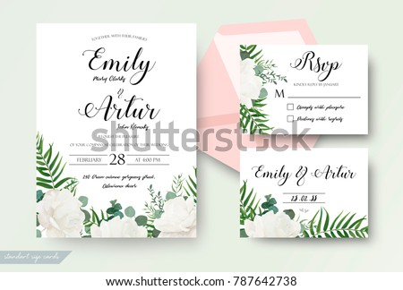 Wedding cards floral design. Invite, invitation, rsvp, response card save the date set. White garden rose peony flower forest fern, green tropical palm leaf, silver dollar eucalyptus branch decoration #787642738