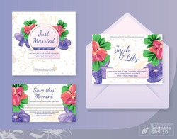 Wedding Cards Set with Anemone Flowers Decoration. Marriage Couple Names, Just Married, Save Moment Titles on Marble Backdrop. Invitation Text in Frame. Vector Illustration Editable EPS 10