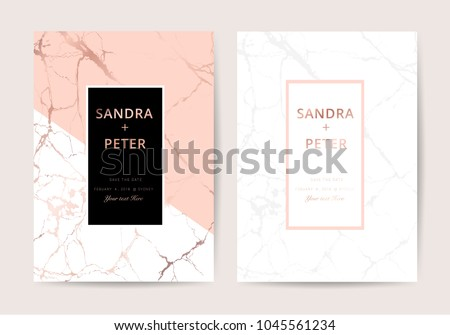 Wedding cards with marble and rose gold texture