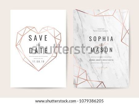 Wedding cards with marble background cover and rose gold texture
