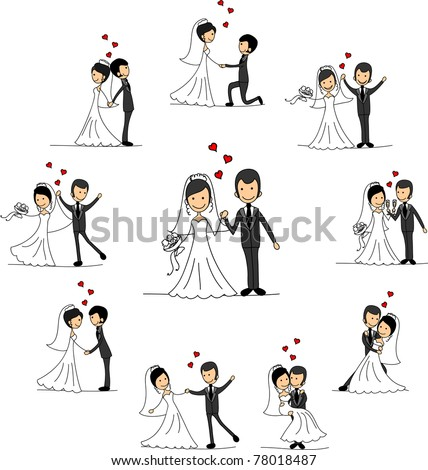 Wedding cartoon characters - the bride and groom