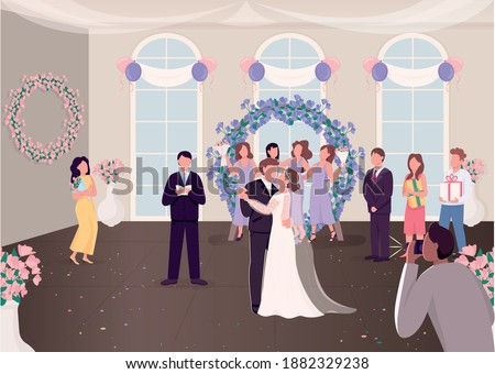 Wedding ceremony celebration flat color vector illustration. Newly married couple with guests. Bride and groom dancing first time 2D cartoon characters with decorated banquet hall on background Сток-фото ©