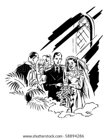 stock vector Wedding Ceremony Retro Clip Art