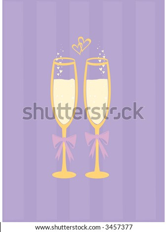Wedding champagne with heart-shaped bubbles. See my gallery for coordinating wedding cake vector.