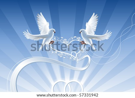 stock vector Wedding collage with wedding rings and two white doves