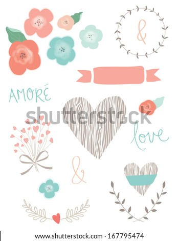 Wedding Collection of Vector Flowers, Laurel Frames, Heart, Bouquet, Ribbons, and Love Script