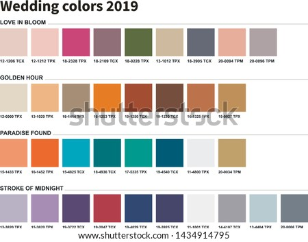 Wedding colors 2019. An example of a color palette. Forecast of the future color trend. Forecast of the future color trend. Wedding dressing for the bride. Trendy colors of the season.