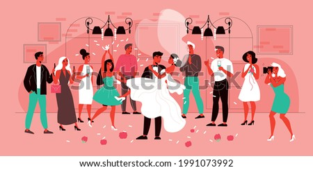 Wedding composition with view of marriage ceremony with characters of guests with happy groom and bride vector illustration