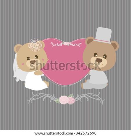 wedding concept of couple teddy