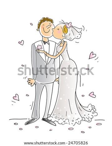 wedding congratulations card vector illustration, happy couple kissing, cartoon characters