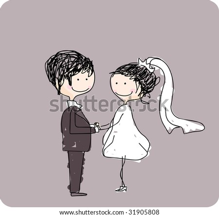 stock vector : wedding couple holding hands