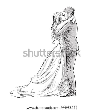 wedding couple kiss newlywed