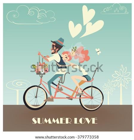 wedding couple on bicycle Foto stock ©