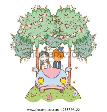 wedding couple on car cute cartoon #1238729122