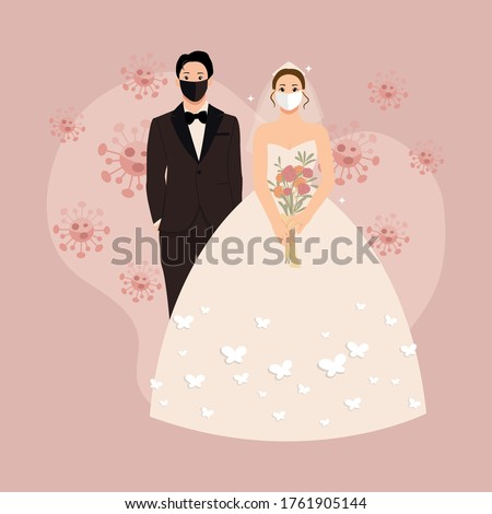 Wedding couple wearing protective mask in the middle of corona pandemic. Wedding cake topper. Flat style background.