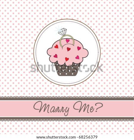 Wedding cupcake card with a ring