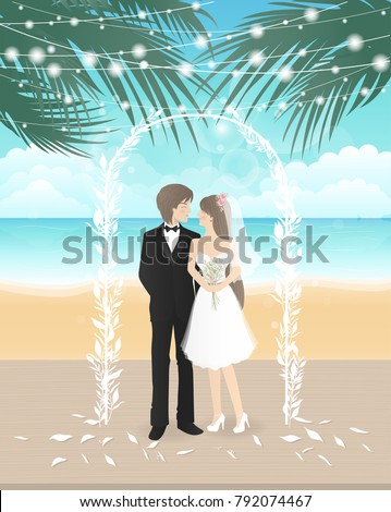 wedding day on the beach with