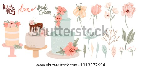 Wedding decor collection. Hand drawn feative cakes, leaves flowers and lettering in pastel colors, contemporary birthday delicious confectionery and botanical decoration, modern vector isolated set Foto stock ©