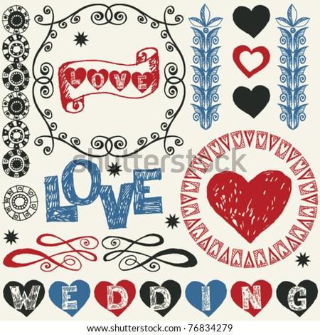 wedding doodles, hand drawn design elements