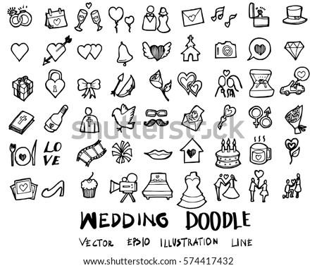 Wedding doodles sketch vector icon ink. #574417432