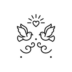 Wedding doves Birds icons Wedding couple signs. Valentines day love sign, Vector flat illustration