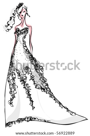 white wedding dress with black. stock vector : Wedding dress