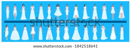Wedding dress collection. Different styles and shapes. A large set of various dresses. Young adult women brides. A vector cartoon illustration.  Foto stock ©