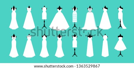 Wedding dress collection. Vector of dress on mannequin.